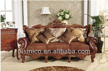 Antique Replica Furniture, Moncaro Three Seater Leather Sofa Couch,  Gorgeous Wood Carving