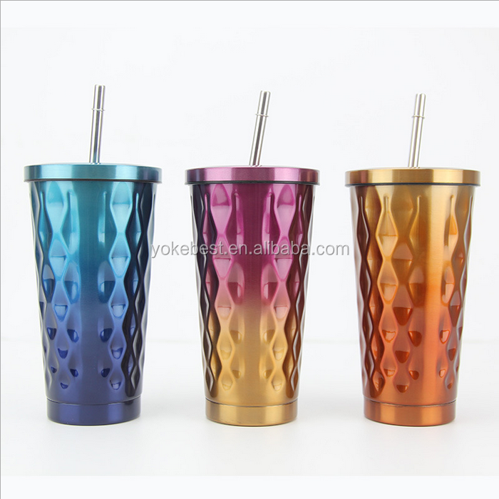 UCHOME High Quality Stainless Steel Straw Cups Stainless Steel Coffee Cups Double Layer With Straw Cups Custom Logo