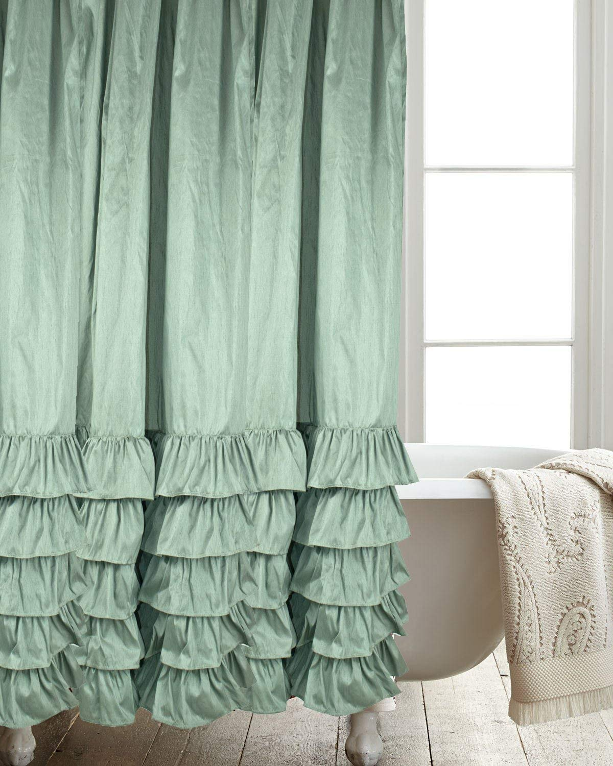 Get Quotations Hand Made Metallic Toned Faux Silk Polyester Dupion Fabric Shower Curtain Frilled Bordered With Button