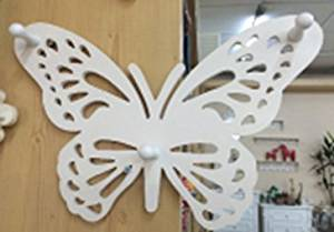 hadaaya gifts & home decor Elegant Butterfly Shaped Wall Mounted Hook, Shabby Chic, Carved Look Wooden White Art Decor