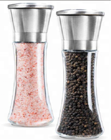 2018 Amazon Hot Sale Glass Bottle Salt and Pepper Grinder Set / Pepper grinder