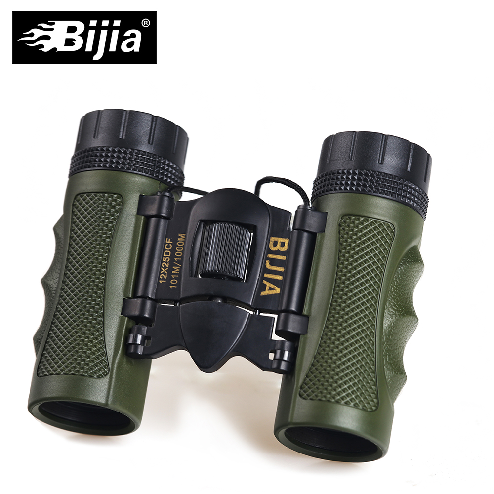 BIJIA 12X25 High Quality DCF Travel Small Folding Binoculars Compact Gift Telescope for Sale
