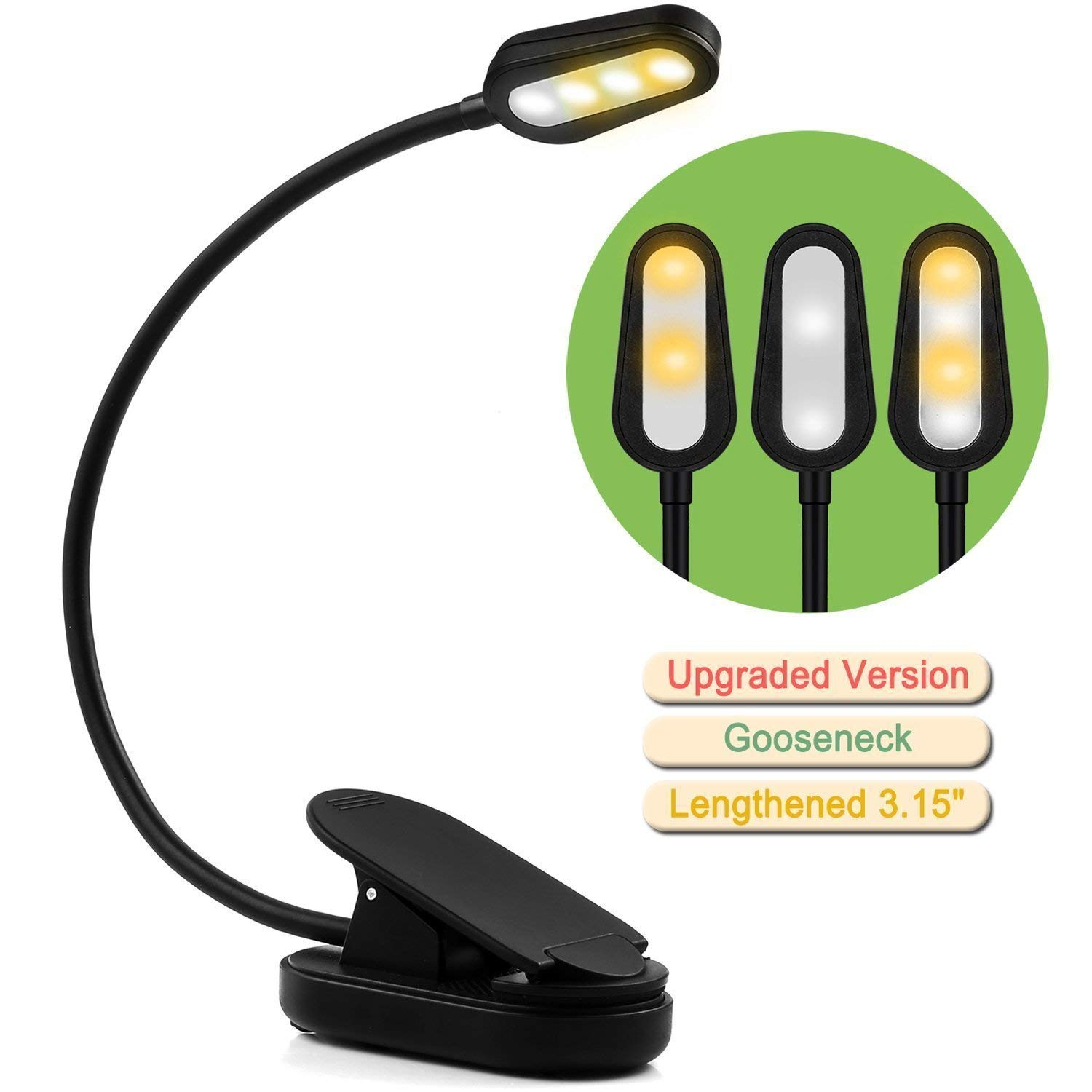 Rechargeable Book Light, Easy Clip on LED Night Reading Light for Books in Bed with White and Warm Lamp
