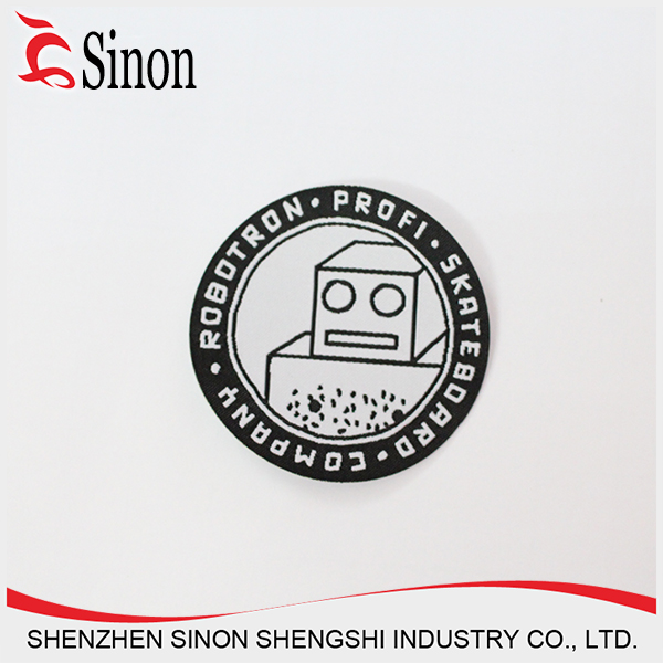 new fashion woven logo label iron on embroidery patch fabric shenzhen manufacturer