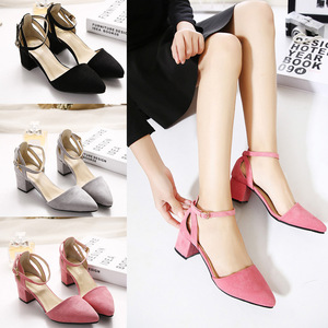 Guangzhou Factory Sell European Korean Japan Summer Autumn Fashion Sandals Low Thick Heels Lady Pointed Toe Suede Shoes Pumps