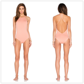 e144ebd113620 2016 new sexy round neck strappy backless one piece bikini swimsuit for  open young girl