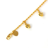 71186 xuping 2019 trendy slim water wave jewellery bracelet, lovely bell love heart charm Malayan emas gold plated bracelet