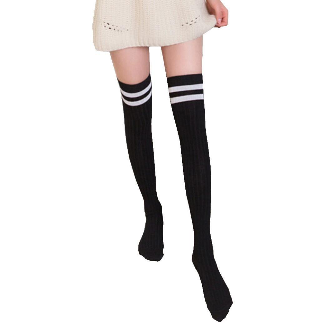5468d4c2bcc0c Get Quotations · Womens Thigh High Socks,Jushye 1Pair Women Over The Knee  Long Socks Striped Thigh High