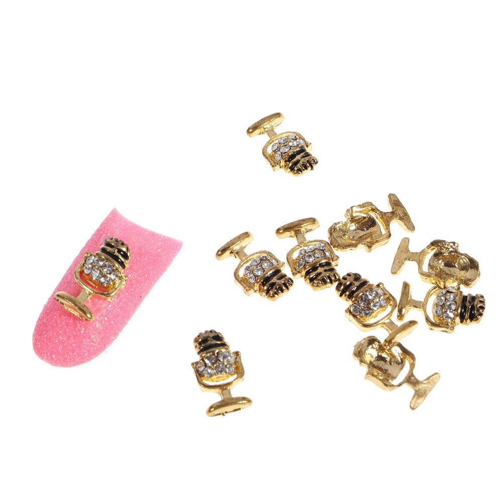 So Beauty Fashion Stunning Glitter Gold Cup Metal Rhinestones Nail Art DIY Decorations - 10 Pcs