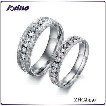 New Fashion Rhinestone Titanium Steel Cute Couple Rings