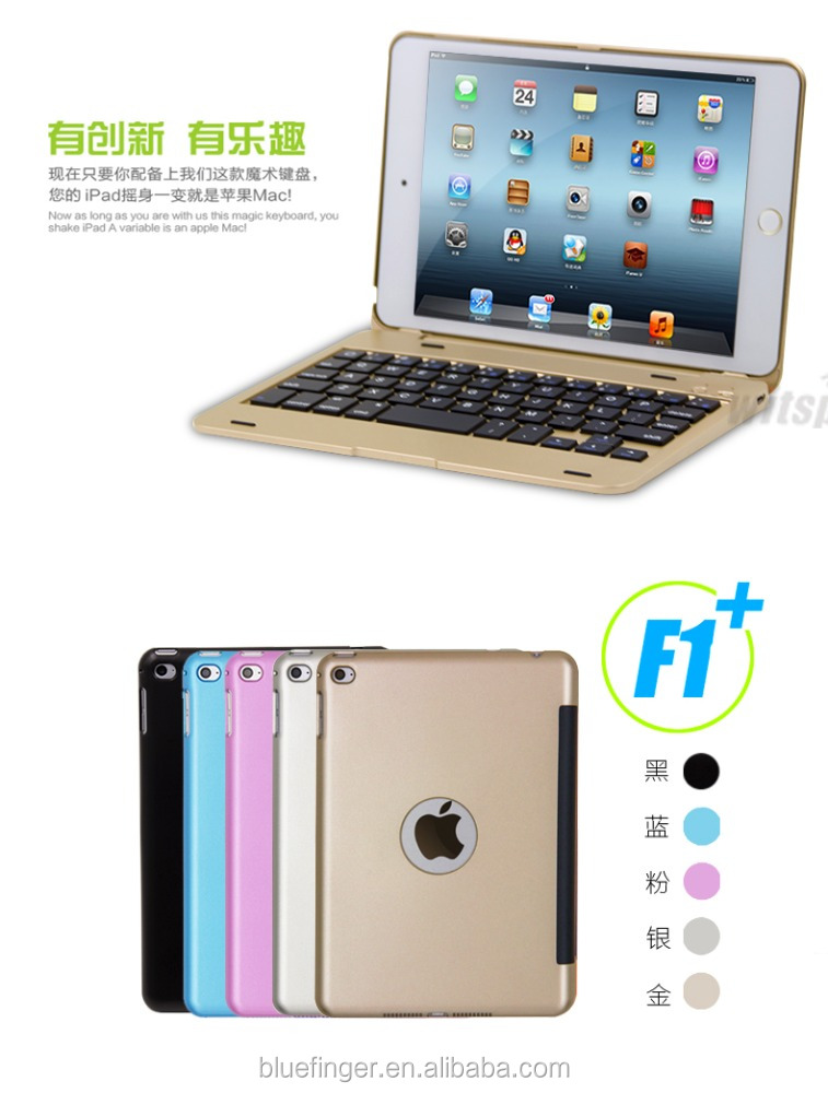 CE&FCC&MSDS passed Folio Clamshell Bluetooth 3.0 keyboard cover case for iPad Mini4 with protective case