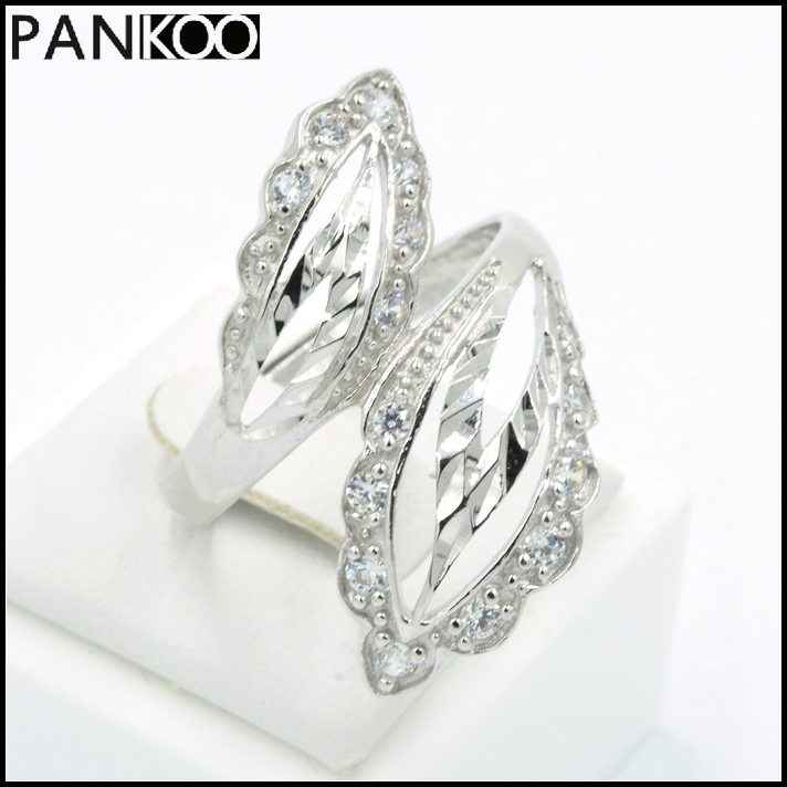 Brand New Jewelry Leaf Design Cubic Zirconia CZ PlatinumPlated 925