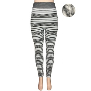 Thick Brushed Ultra Soft Premium Embroidery Warm Leggings Fashion Ladies Sexy Knitted Pattern Winter Fleece Lined Leggings