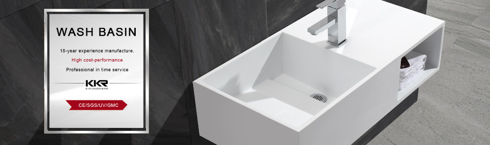 Commercial White Solid Surface Sink Countertop Bathroom Wash Bowl