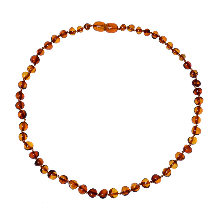 Children Baroque Natural Cognac baltic amber teething necklace for babies