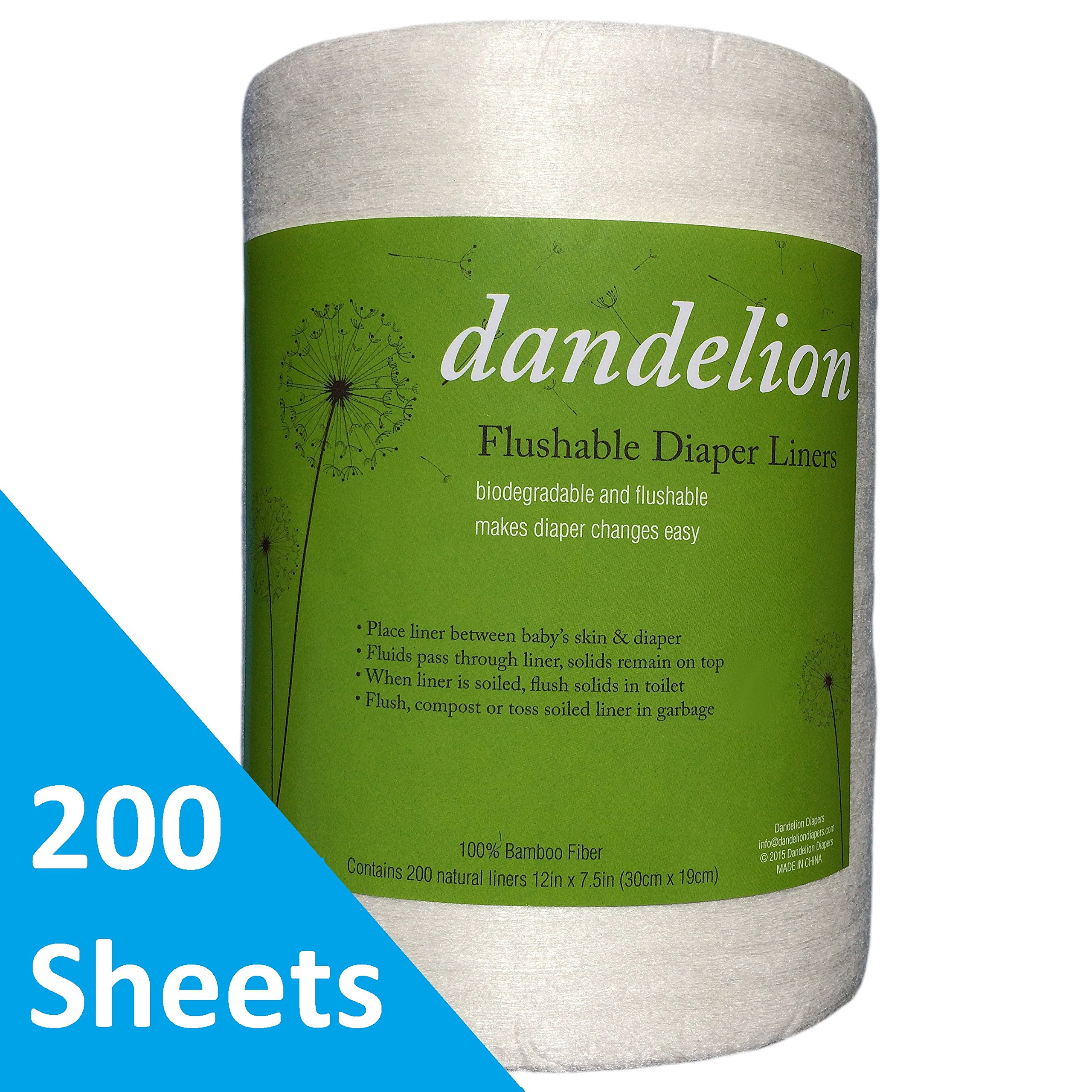 Dandelion Diapers Biodegradable and Flushable Natural Diaper Liners, Soft 100% Viscose Made from Bamboo 200 Sheets