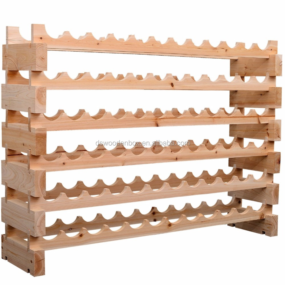 Stackable Pine Wooden Wine Rack 72 Bottles Holder 6 Shelves Storage Display Stand