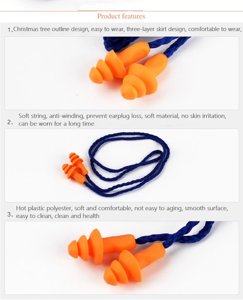 3M 1270 Wire No Irritation Multi-Flange earplugs Reusable Banded Pre-molded Protective Ear Plugs