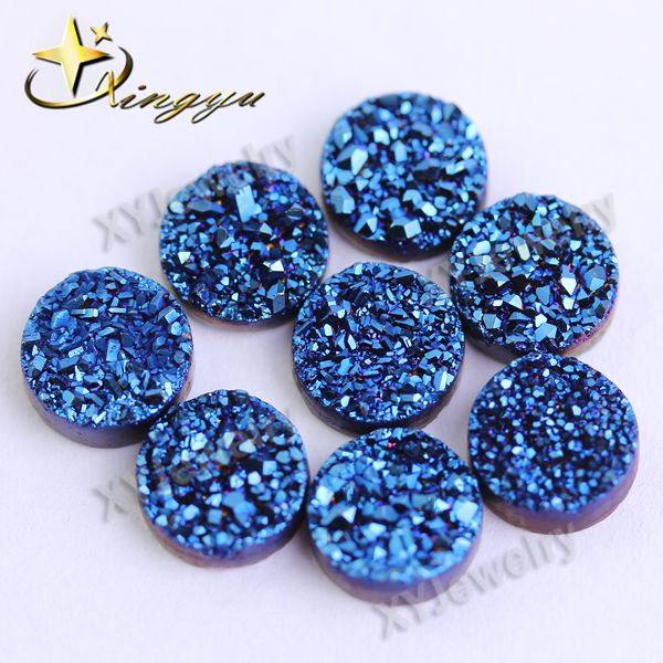 Natural Round Blue Agate Druzy <strong>Stone</strong> Wholesale