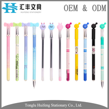 HF5011 Promotional school gifts free ink kawaii plastic gel pen with custom logo cartoon topper