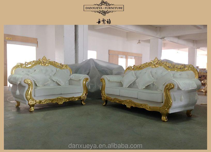 Nailhead Velvet Sofa , Golden White Wedding Sofa , Luxury Carved Sofa Set
