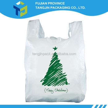 2016 christmas item white plastic t shirt shopping bags 34 for Holiday t shirt bags