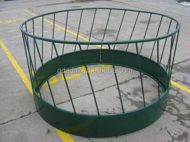 Galvanized or powder coated steel hay bale cattle feeder