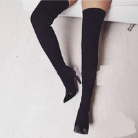 Hot sale women PU leather boot ladies fashion over knee high heel shoes