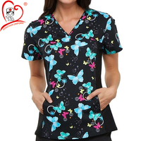 2020 Wholesale Fashion Tunic Style Women's V-Neck Floral Print Medical Nurse Scrub Top