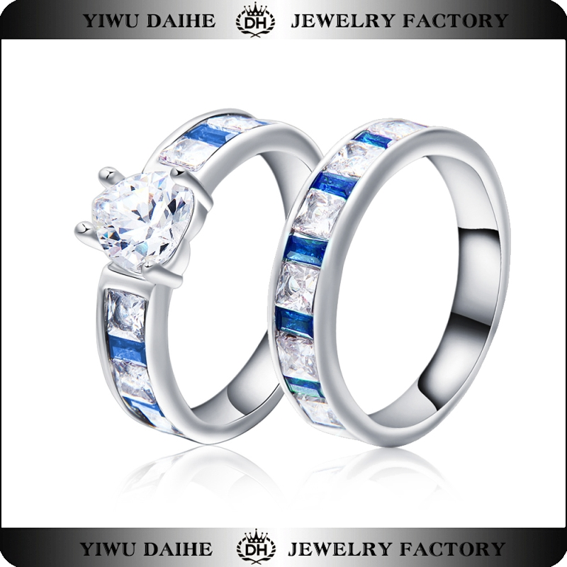 Daihe Trandy Heart Stone Women's Cubic Zirconia Marquise Created Blue Sapphire Engagement Ring