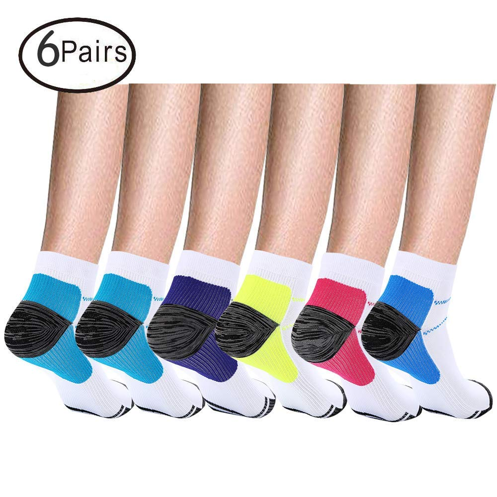 fb19733305 Get Quotations · Compression Short Socks(6 Pairs) for Women and Men, Support  Best for Running