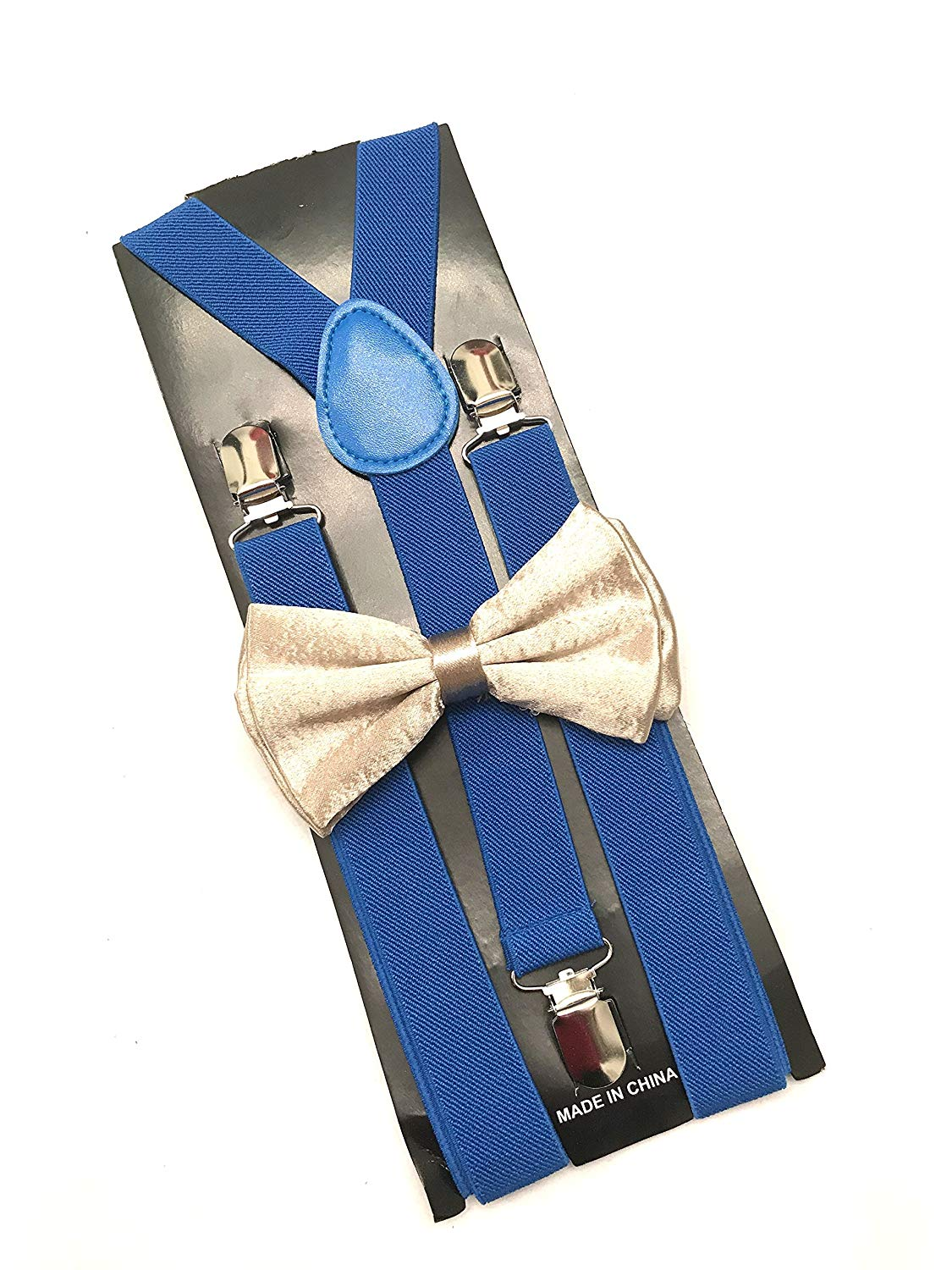 New! Royal Blue Suspenders and Bowtie Set, Mens suspenders and Bowtie, Gold Wedding, Groomsmen