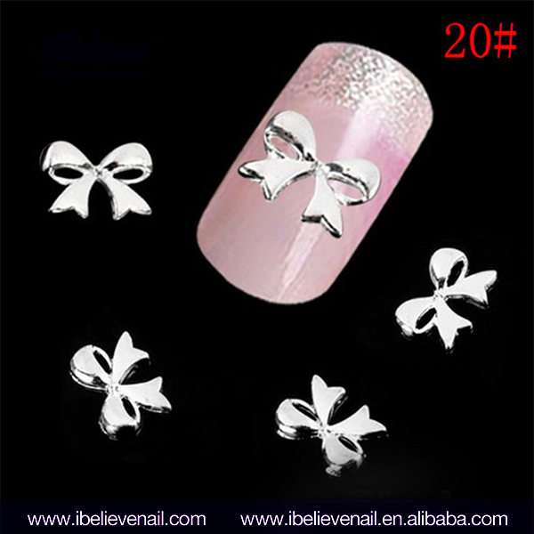Professional High Quality Luxury Metal Rhinestone Nail Art Design 3D Bow Nail Decoration With Large Supply