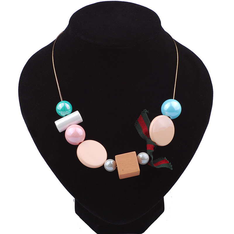 fashion handmade coloful Bright pearl pendant beads wood statement necklace wholesale