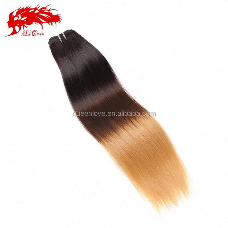 Best selling three tone ombre brazilian hair weave wet and wavy 1b /4#/27# color