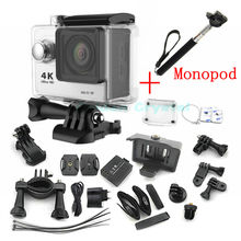 H9 Wifi Ultra HD 4K Video Wide Angle Sports Camera 2-inch Screen 1080p 60fps Gopro Hero 4 Style action Camera + Monopod