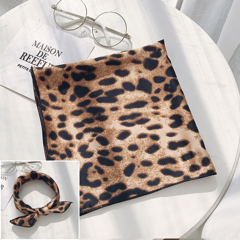 CLARMER In Stock Fashion Wholesale Printed Square Scarves Women Stripe Point Leopard Satin Silk Hair Scarf For Girls