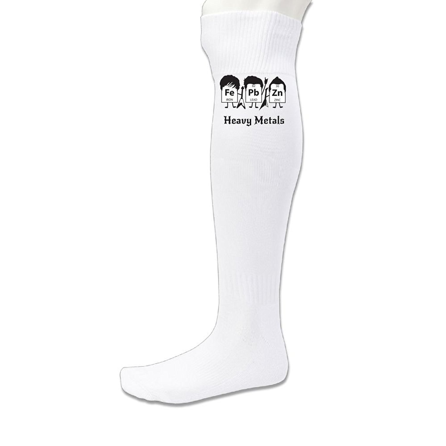 5369d85a3 Get Quotations · Hexu Men's Heavy Metals Periodic Table Science And Nerd Funny  Soccer Socks Sports Team White