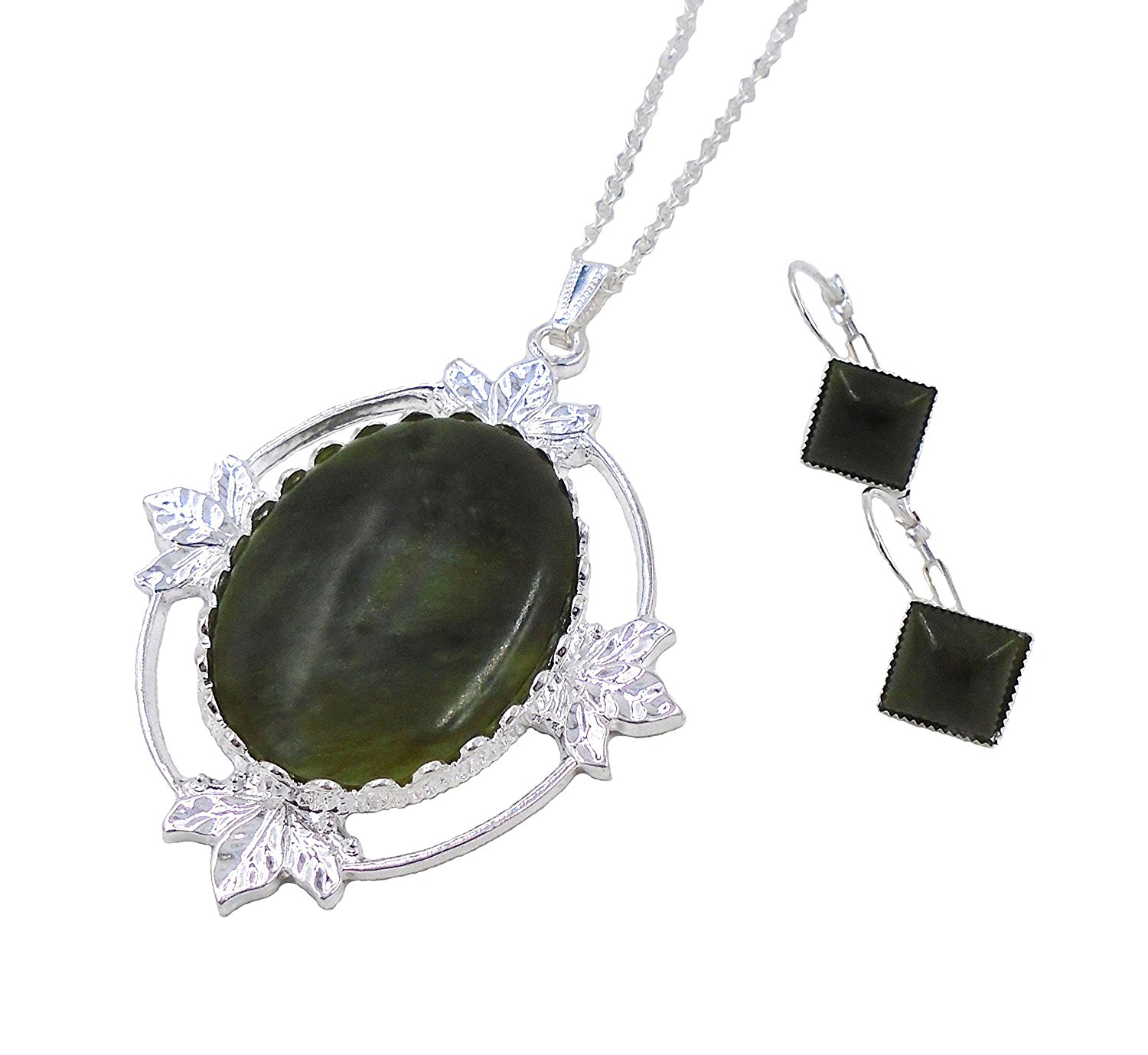 Irish Connemara Marble: Oval Pendant and Earrings SET by J.C. Walsh & Sons…