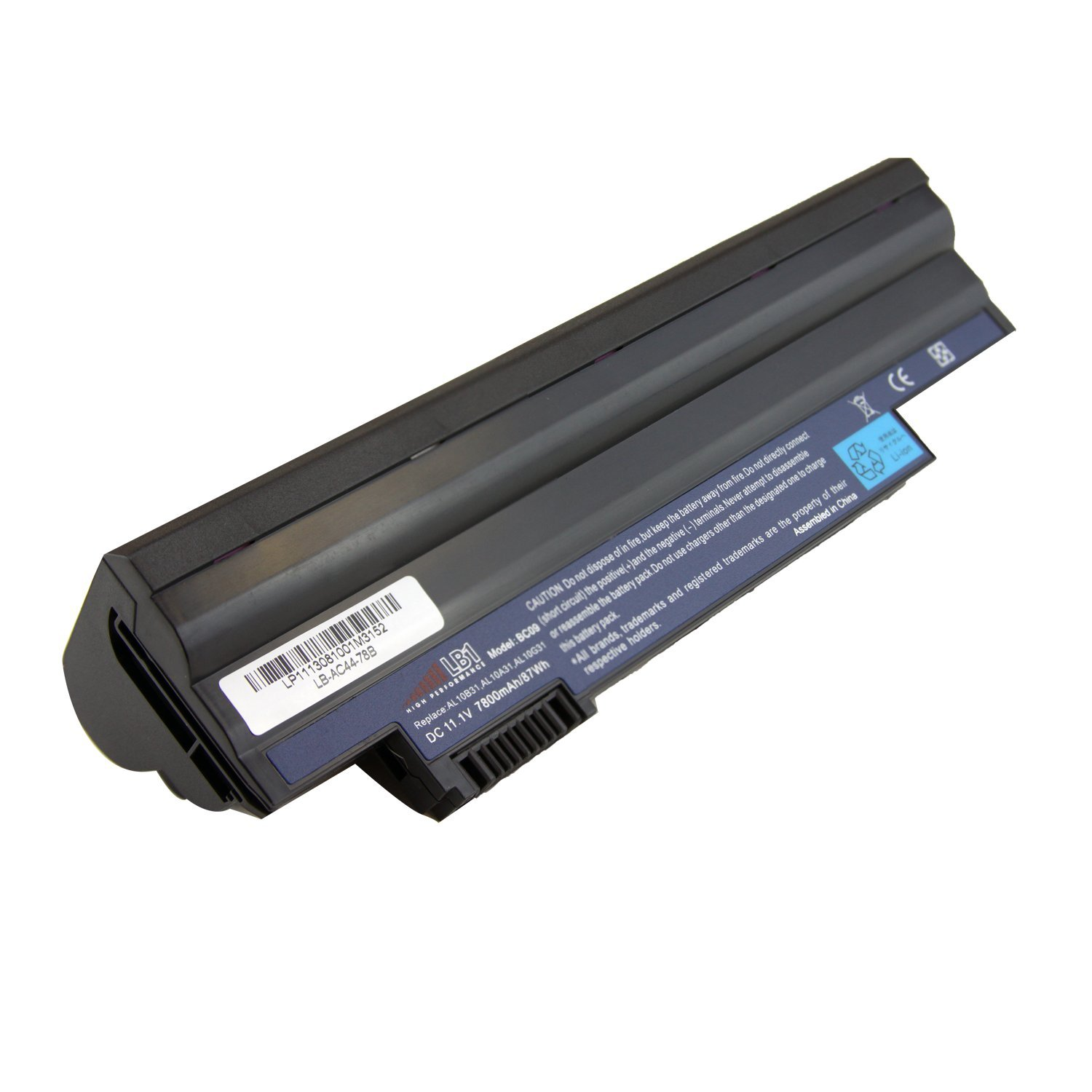 LB1 High Performance Battery for Acer Aspire One D255, DE255E, D260, 522, 722, Compatible Part#: AL10A31, AL10B31, AL10G31, AK.003BT.071, AK.006BT.074, ICR17/65L, C.BTP00.12L, C.BTP00.128 Laptop Notebook Computer [9-Cell 11.1V] 18 Months Warranty