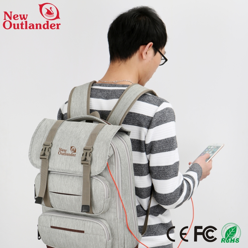 Wholesale fashion Travelling accept custom logo USB Battery Charging anti theft backpack laptop bag