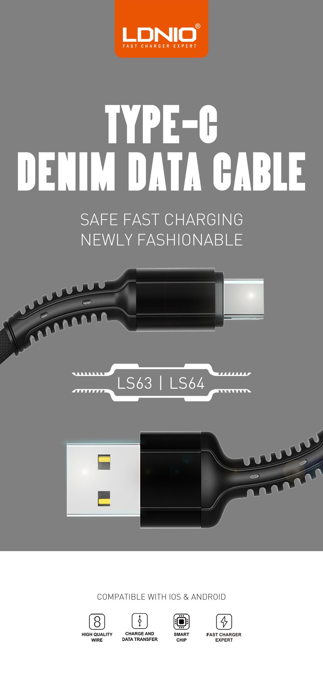 LDNIO Original Denim 1M Mobile Phone Cables 2.4A Fast Charging Micro USB Cable LS63