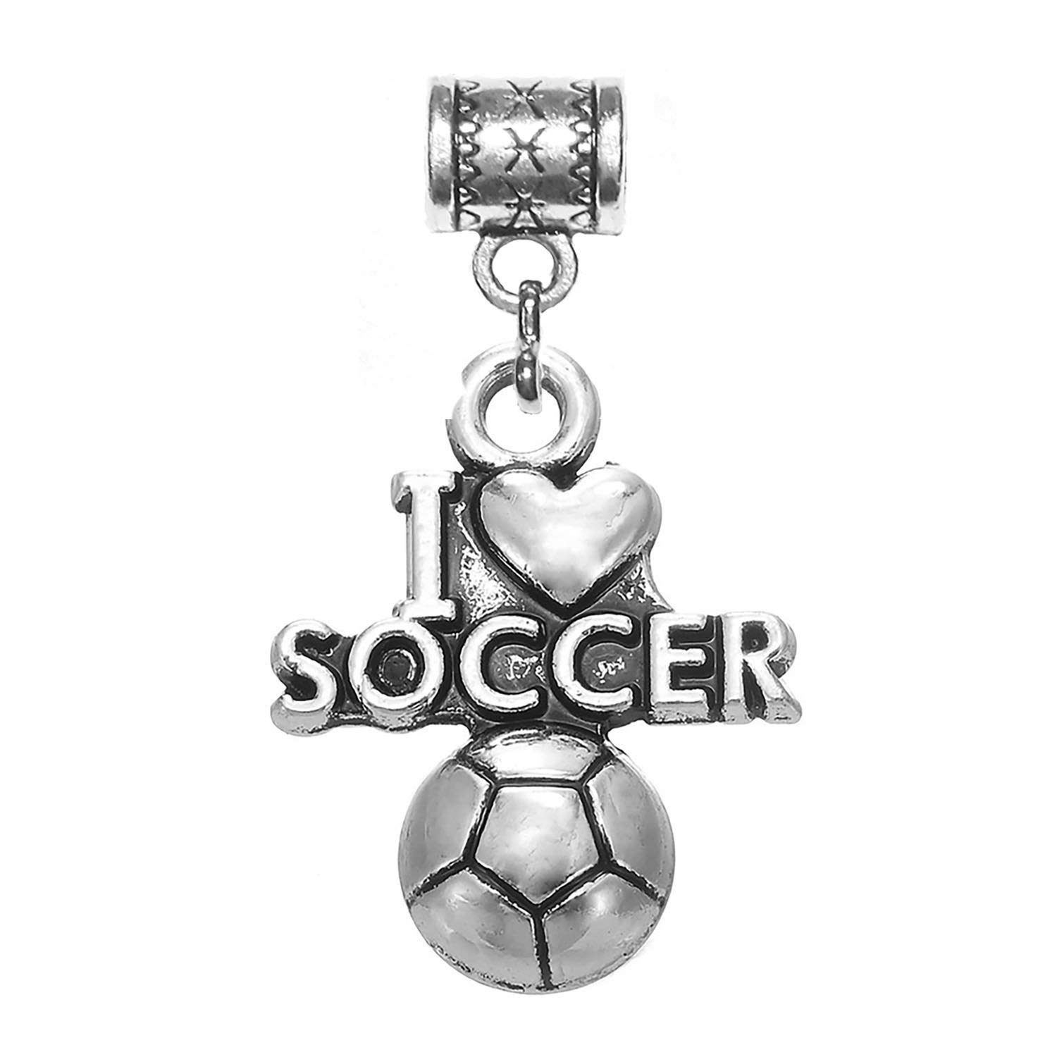"""I Love Soccer charm"" Tibetan Silver Hanging charm for large hole snake chain charm bracelet, or add to a key chain, pendant necklace or neck chain. A great gift for a sports lover."