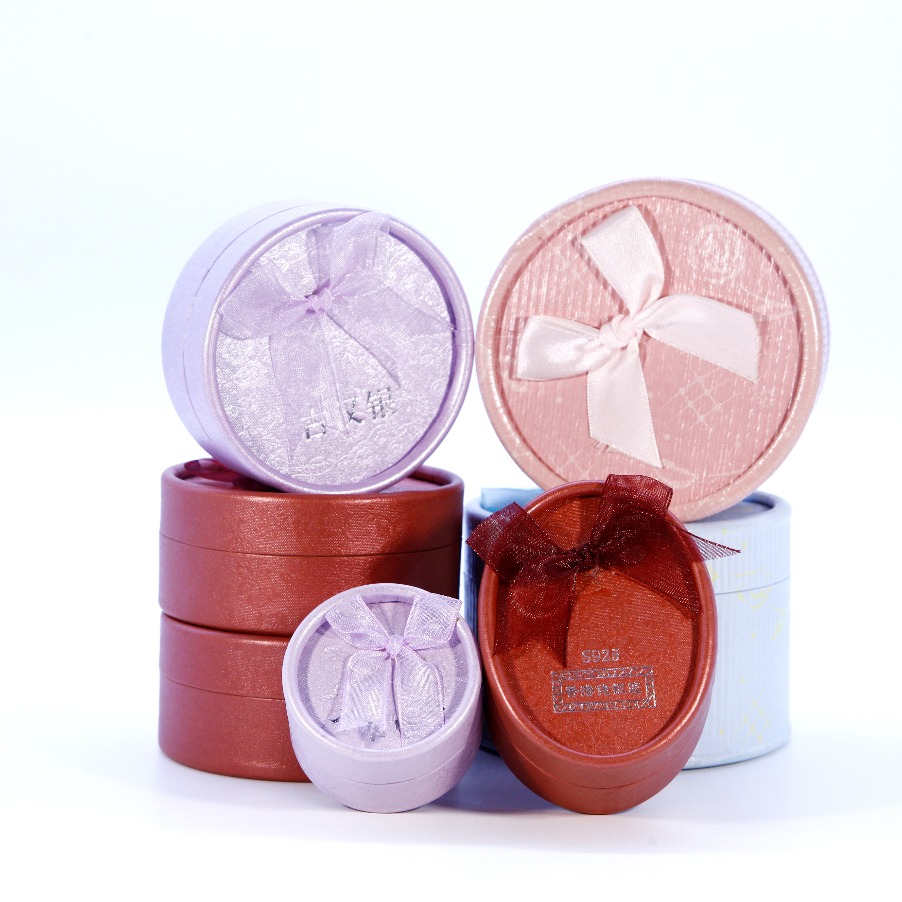 Luxury Custom Small Wedding Round Tube Recycled Hard Packaging Jewelry Gift Box Paper with Ribbon Bow