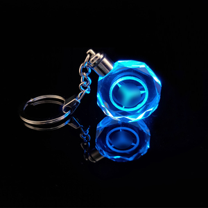Cheap wholesale crystal key ring Custom led light car logo crystal keychain for 4s shop giveaways
