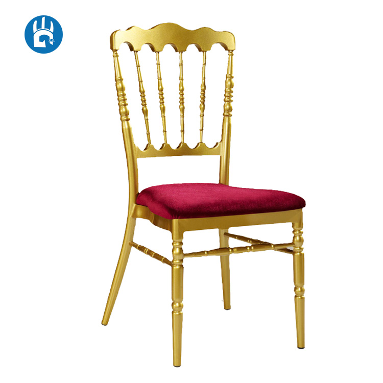 Fixed cushion velvet chiavari ballroom gold aluminium napoleon chair for sale