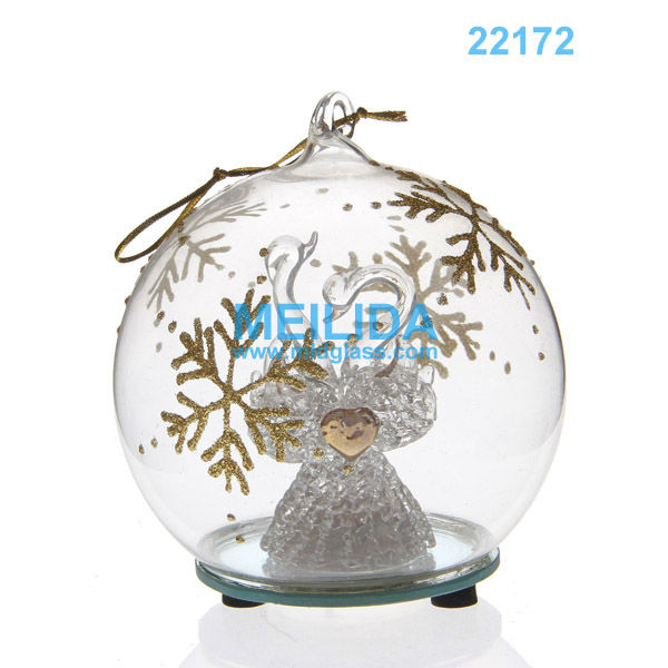 LED christmas hanging ball for indoor lighting with snow painted