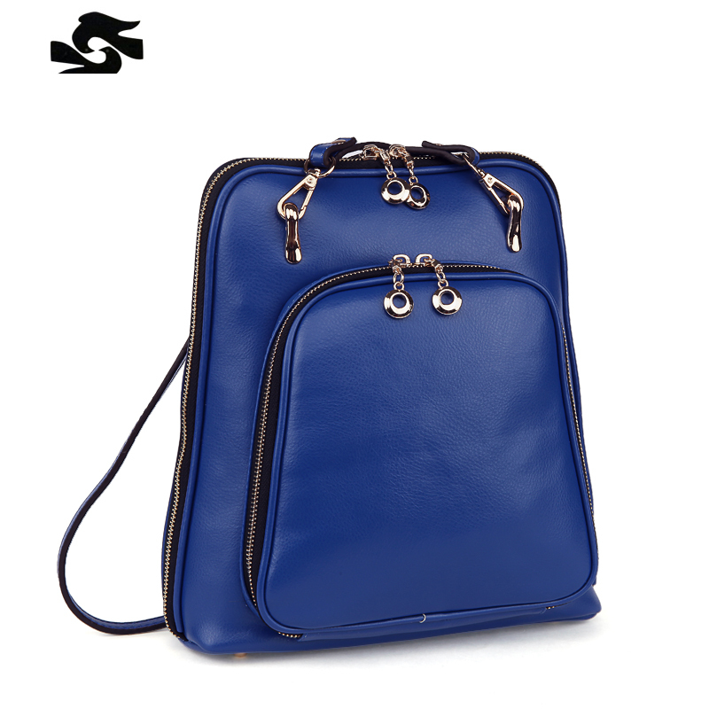 Get Quotations · Preppy style casual women backpacks top genuine leather  women real leather bags pure color school bag ed3ab54b998c6