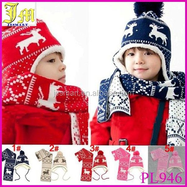 Hot Sale Hat And Scarf Sets Autumn Winter Christmas Magic Deer and Velvet Ear  Protectors Child Hats Boy Girls Warm Cap fb623e8909fa