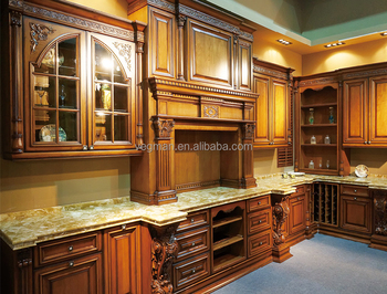 Luxury Antique Solid Wood American Style Oak Kitchen